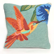 "Liora Manne Frontporch Hummingbird Indoor/Outdoor Pillow - Blue, 18"" Square"