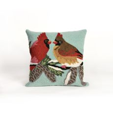"Liora Manne Frontporch Cardinals Indoor/Outdoor Pillow - Blue, 18"" Square"