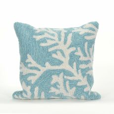 "Liora Manne Frontporch Coral Indoor/Outdoor Pillow - Blue, 18"" Square"