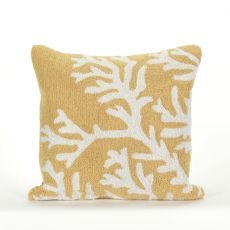 """Liora Manne Frontporch Coral Indoor/Outdoor Pillow - Yellow, 18"""" Square"""
