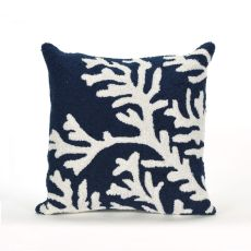 "Liora Manne Frontporch Coral Indoor/Outdoor Pillow - Navy, 18"" Square"