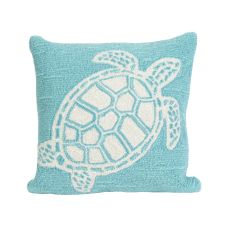 "Liora Manne Frontporch Turtle Indoor/Outdoor Pillow - Blue, 18"" Square"