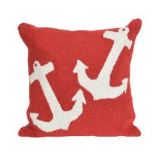 """Liora Manne Frontporch Anchor Indoor/Outdoor Pillow - Red, 18"""" Square"""