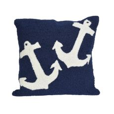 """Liora Manne Frontporch Anchor Indoor/Outdoor Pillow - Blue, 18"""" Square"""