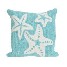 "Liora Manne Frontporch Starfish Indoor/Outdoor Pillow - Blue, 18"" Square"
