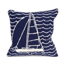 "Liora Manne Frontporch Sails Indoor/Outdoor Pillow Navy 18"" Square"
