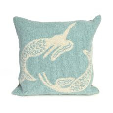 "Liora Manne Frontporch Mermaids Indoor/Outdoor Pillow Blue 18"" Square"