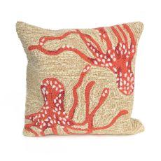 "Liora Manne Frontporch Octopus Indoor/Outdoor Pillow Orange 18"" Square"
