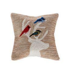 "Liora Manne Frontporch Deer & Friends Indoor/Outdoor Pillow Natural 18"" Square"