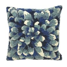 "Liora Manne Frontporch Mum Indoor/Outdoor Pillow Blue 18"" Square"