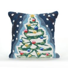 "Liora Manne Frontporch Xmas Tree Indoor/Outdoor Pillow - Blue, 18"" Square"