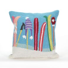 """Liora Manne Frontporch Gone Skiing Indoor/Outdoor Pillow - Blue, 18"""" Square"""