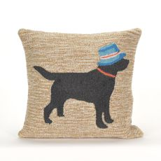 """Liora Manne Frontporch Vacation Dog Indoor/Outdoor Pillow - Natural, 18"""" Square"""