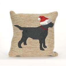 "Liora Manne Frontporch Christmas Dog Indoor/Outdoor Pillow - Natural, 18"" Square"