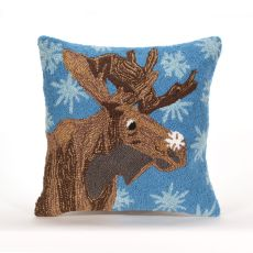 "Liora Manne Frontporch Moose And Snowflake Indoor/Outdoor Pillow - Blue, 18"" Square"