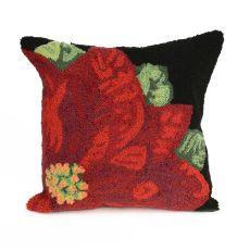 "Liora Manne Frontporch Poinsettia Indoor/Outdoor Pillow Black 18"" Square"