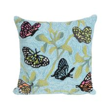 """Liora Manne Frontporch Butterfiles On Tree Indoor/Outdoor Pillow - Green, 18"""" Square"""