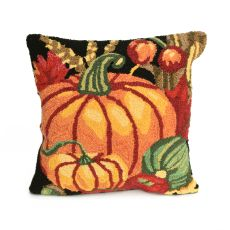 "Liora Manne Frontporch Pumpkin Indoor/Outdoor Pillow Black 18"" Square"