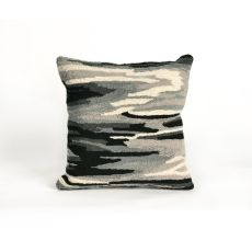 """Liora Manne Frontporch Watercolor Indoor/Outdoor Pillow - Grey, 18"""" Square"""