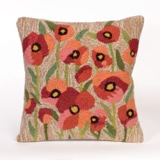 Liora Manne Frontporch Poppies Indoor/Outdoor Pillow Natural  Square