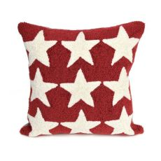 """Liora Manne Frontporch Stars Indoor/Outdoor Pillow Red 18"""" Square"""