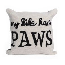 """Liora Manne Frontporch My Kids Have Paws Indoor/Outdoor Pillow Neutral 18"""" Square"""