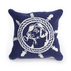 "Liora Manne Frontporch Seadog Indoor/Outdoor Pillow Marine 18"" Square"