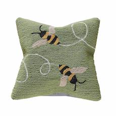 """Liora Manne Frontporch Buzzy Bees Indoor/Outdoor Pillow Green 18"""" Square"""