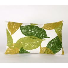 "Liora Manne Visions I Mystic Leaf Indoor/Outdoor Pillow - Green, 12"" By 20"""