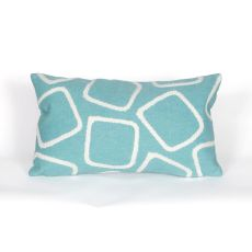 "Liora Manne Visions I Squares Indoor/Outdoor Pillow - Blue, 12"" By 20"""