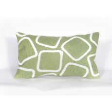 "Liora Manne Visions I Squares Indoor/Outdoor Pillow - Green, 12"" By 20"""
