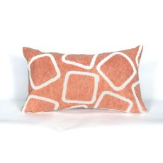 "Liora Manne Visions I Squares Indoor/Outdoor Pillow - Orange, 12"" By 20"""