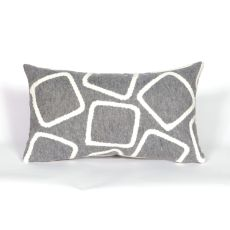 "Liora Manne Visions I Squares Indoor/Outdoor Pillow - Silver, 12"" By 20"""