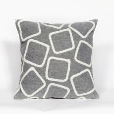 "Liora Manne Visions I Squares Indoor/Outdoor Pillow - Silver, 20"" Square"
