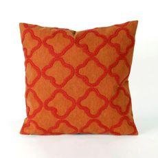 "Liora Manne Visions I Crochet Tile Indoor/Outdoor Pillow Orange 20"" Square"