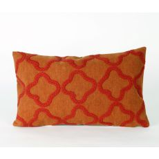 "Liora Manne Visions Ii Crochet Tile Indoor/Outdoor Pillow - Orange, 12"" By 20"""