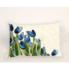 "Liora Manne Visions Ii Allover Tulips Indoor/Outdoor Pillow - Blue, 12"" By 20"""
