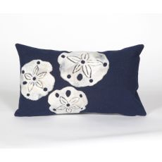 "Liora Manne Visions Ii Sand Dollar Indoor/Outdoor Pillow - Navy, 12"" By 20"""