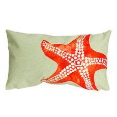 "Liora Manne Visions II Starfish Indoor/Outdoor Pillow Seafoam 12""x20"""