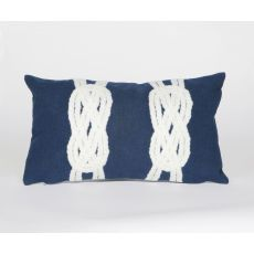 "Liora Manne Visions Ii Double Knot Indoor/Outdoor Pillow - Navy, 12"" By 20"""