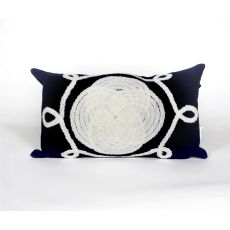 "Liora Manne Visions Ii Ornamental Knot Indoor/Outdoor Pillow - Navy, 12"" By 20"""
