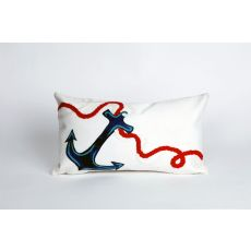 """Liora Manne Visions Ii Anchor Indoor/Outdoor Pillow - White, 12"""" By 20"""""""
