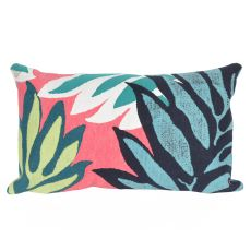 "Liora Manne Visions Ii Tropic Leaf Indoor/Outdoor Pillow - Pink, 12"" By 20"""