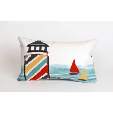 """Liora Manne Visions II Lighthouse Indoor/Outdoor Pillow - White, 12"""" by 20"""""""