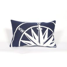 "Liora Manne Visions Ii Compass Indoor/Outdoor Pillow - Navy, 12"" By 20"""