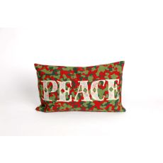 "Liora Manne Visions Ii Peace Indoor/Outdoor Pillow - Red, 12"" By 20"""