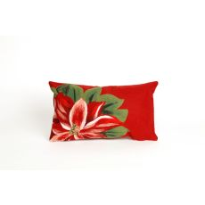 "Liora Manne Visions Ii Poinsettia Indoor/Outdoor Pillow - Red, 12"" By 20"""