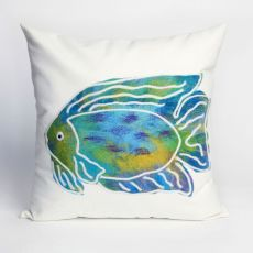 "Liora Manne Visions II Batik Fish Indoor/Outdoor Pillow - Blue, 20"" Square"