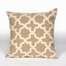"Liora Manne Visions Ii Crochet Tile Indoor/Outdoor Pillow - Camel, 20"" Square"