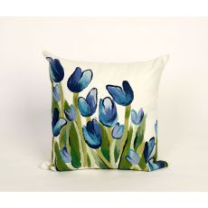 "Liora Manne Visions Ii Allover Tulips Indoor/Outdoor Pillow - Blue, 20"" Square"